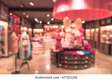 c257837c800b Blurred image interior of a colorful modern women lingerie and underwear  store. Female mannequins in. modern and fashionable interior of underwear  shop