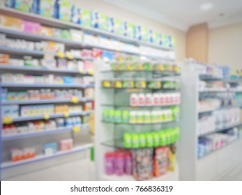 Blurred image interior of retail shop / pharmacy.