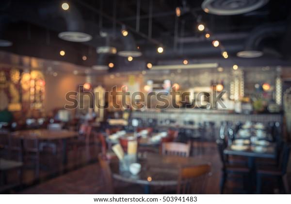 Blurred Image Interior Thai Restaurant Houston Stock Photo