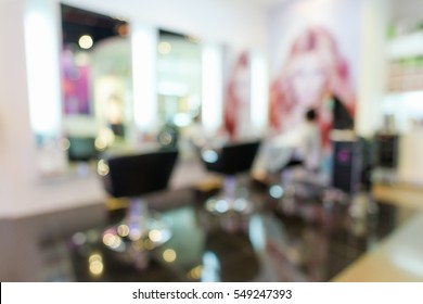 blurred image of modern hair salon.