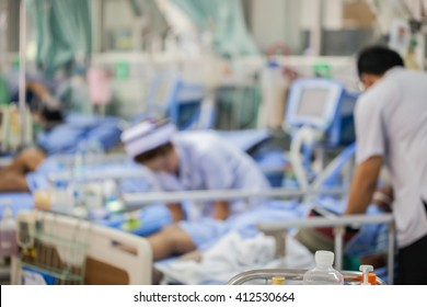 Blurred Image of nursing to patient at ward in hospital