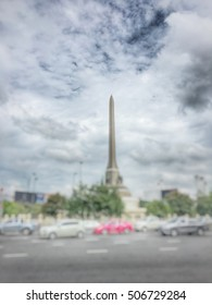 Blurred image off many cars traffic jam with cloud sky in bangkok,Thailand