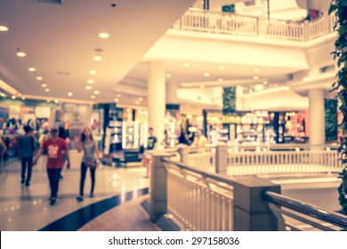 blurred image of people in shopping mall vintage style