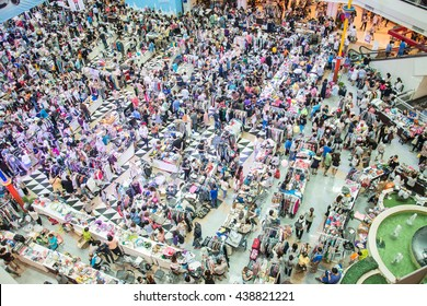 Blurred image of people walking at shopping mall on top view