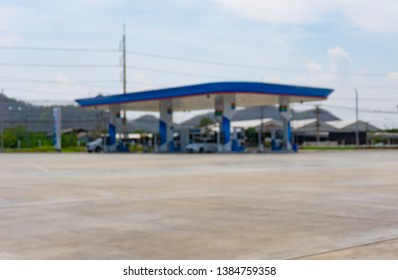 Blurred image of Petrol station at day time