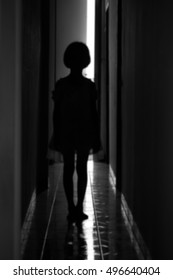Blurred image shadow of little girl.Black and white.Concept idea.