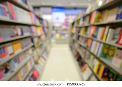 Blurred image of shelf in book store