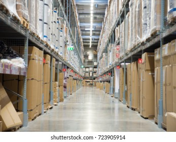 Blurred image of shelves in modern warehouse. Commercial warehouse.