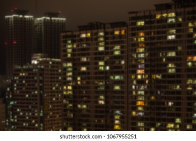 Blurred image of skyscrapers in night time