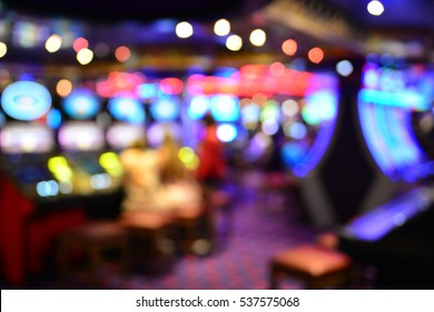 Blurred image of slots machines at the Casino games