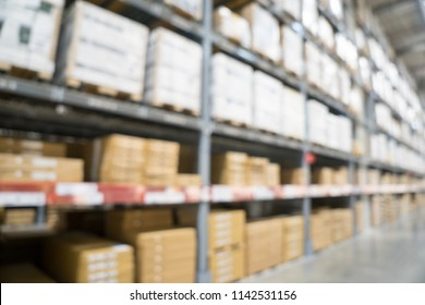 Blurred image of stock inventory shelf, modern logistics warehouse management of wholesale or distributor background concept.