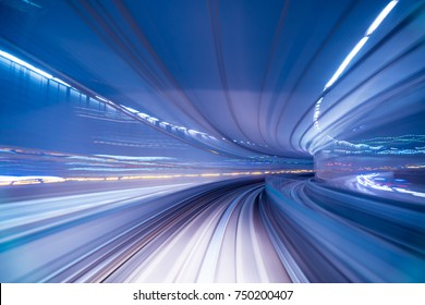 Blurred image of Subway tunnel with Motion blur of a monorail Train futures of transport in modern city
