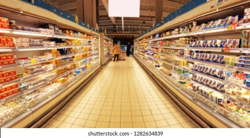 blurred image of supermarket interior