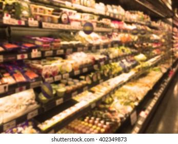 Blurred image of supermarket shelf