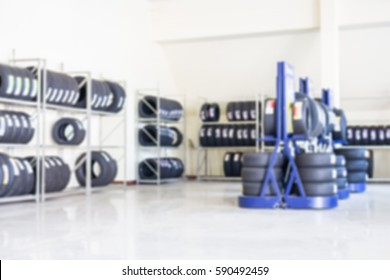 blurred image of the tires shop