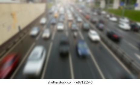 Blurred image of traffic jams