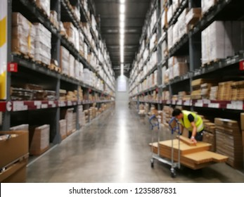 Blurred Image Warehouse Department At furniture stores.