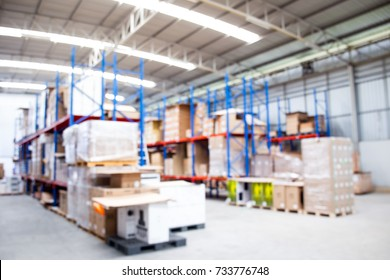 Blurred image of warehouse that fully with a goods on shelf for background.