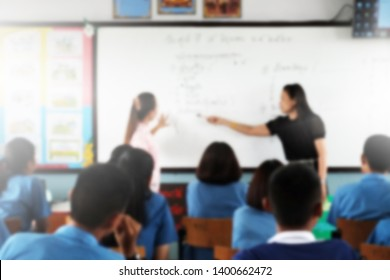 Blurred image.Classroom learning concept,Teachers organize learning processes.The students listen carefully to the Trainer.Knowledge management is centered on learners.Techniques for tracing knowledge