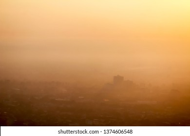 Blurred images of morning smog over Chiang Mai city, causing the problem of smog caused by forest fires and causing public health problems because of the small dust that comes with the haze.