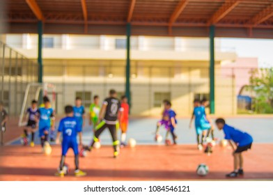 Blurred - Indoor soccer training, for children in the summer, the background blurred.