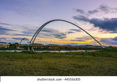 Blurred Infinity Bridge at sunset In Stockton-on-Tees,middlesbrough, UK