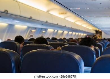 Blurred inside airplane