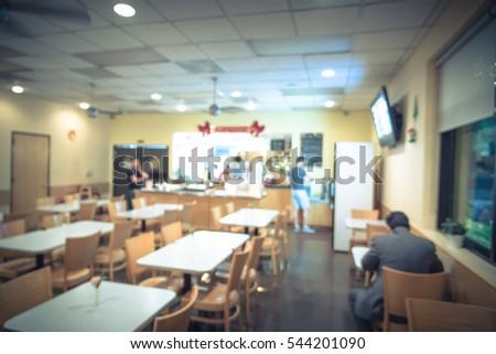 Blurred Interior Express Thai Restaurant Cafe Stock Photo ...