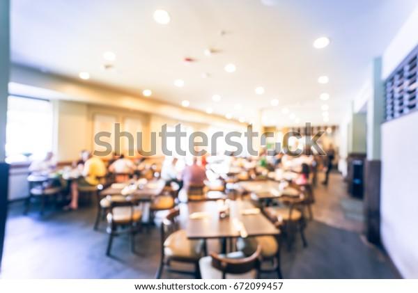 Blurred Interior Vietnamese Restaurant Downtown Houston