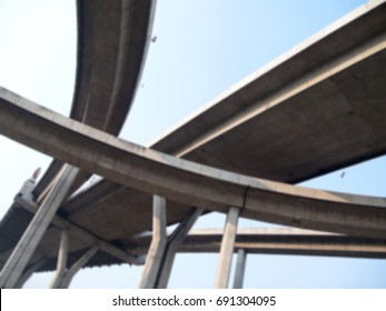 Blurred intersection expressway with grade separation and sky