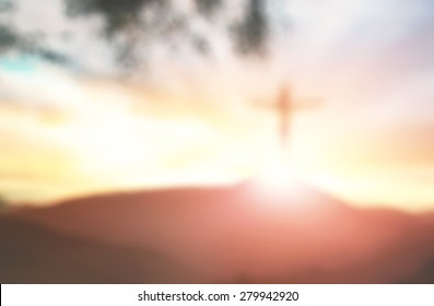 Blurred Jesus on cross symbol of Holy spirit, resurrection and easter sunday
