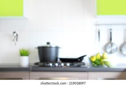 Blurred kitchen interior for background.