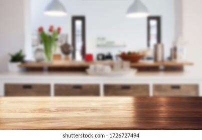 blurred kitchen interior  and desk space home background - Shutterstock ID 1726727494