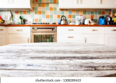 blurred kitchen interior focus on desk space