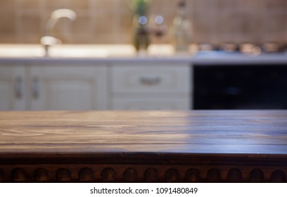 blurred kitchen interior and napkin and desk space