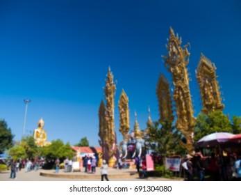 Blurred landmark of Golden Triangle, Wiang, Chiangsaen, Chiangrai, Thailand