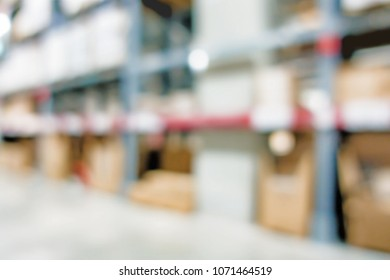 Blurred large furniture warehouse with row of aisles. Industrial storehouse interior. Inventory, wholesale, logistic, export with vintage filter