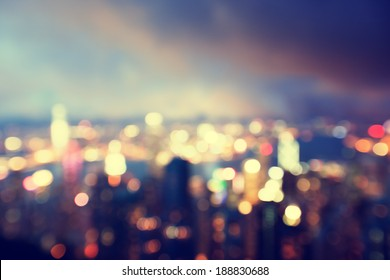 blurred lighhts from peak Victoria, Hong Kong - Shutterstock ID 188830688