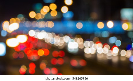 Blurred light in the city at night bokeh background