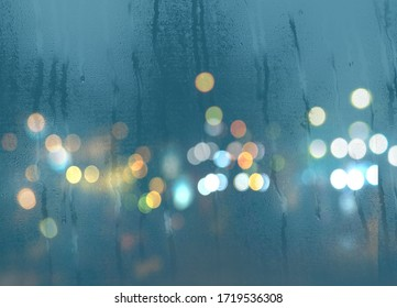 blurred light at rainy season evening windows with rain drops  lamp light background abstract template