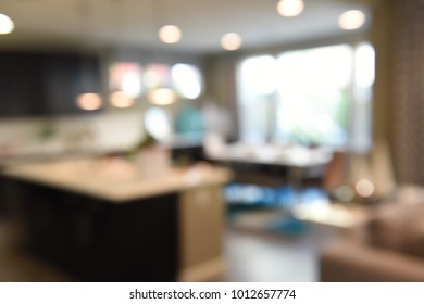 Blurred Living Room Interior of House