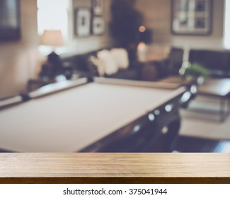 Blurred Living Room with Pool Table applying Retro Instagram Style Filter