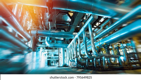 blurred machine interior, lot of pipes