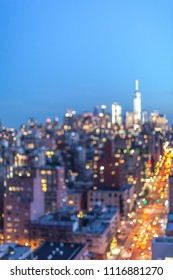 Blurred Manhattan aerial view at night