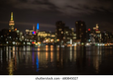 Blurred Manhattan view during night time