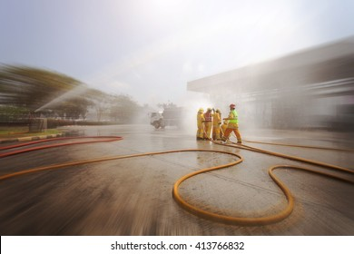 Blurred of Many people at work preparing for training firefighters .