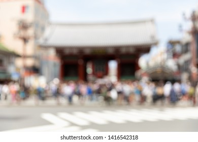 Blurred many tourist in Kaminarimon Gate of Sensoji temple. Sensoji temple is the most famous temple in Asakusa, Tokyo prefecture, Japan.