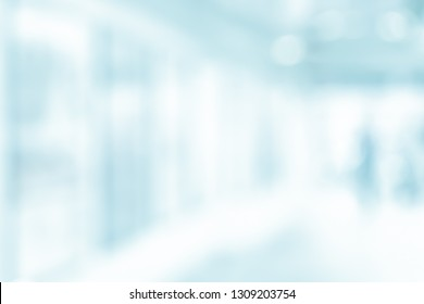 BLURRED MEDICAL BACKGROUND, MODERN HOSPITAL CORRIDOR