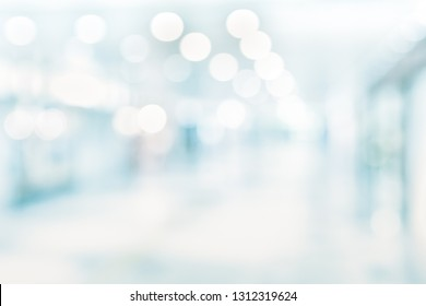 BLURRED MEDICAL BACKGROUND, MODERN HOSPITAL INTERIOR, CORRIDOR IN CLINIC