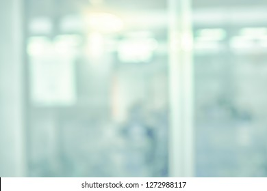 BLURRED MEDICAL BACKGROUND, MODERN OFFICE IN HOSPITAL SEEN THROUGH THE WINDOW